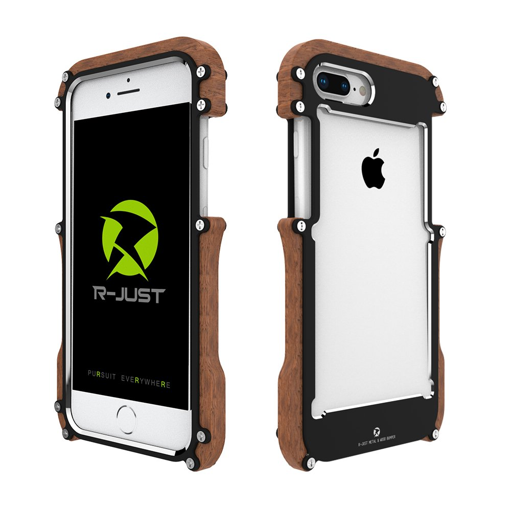 HikerClub Wood Case for iPhone 7/8 Plus Case Stylish Real Wooden Bumper Luxury Metal Frame Armor Defender Edge Shockproof Case (iPhone 7/8Plus 5.5inch)