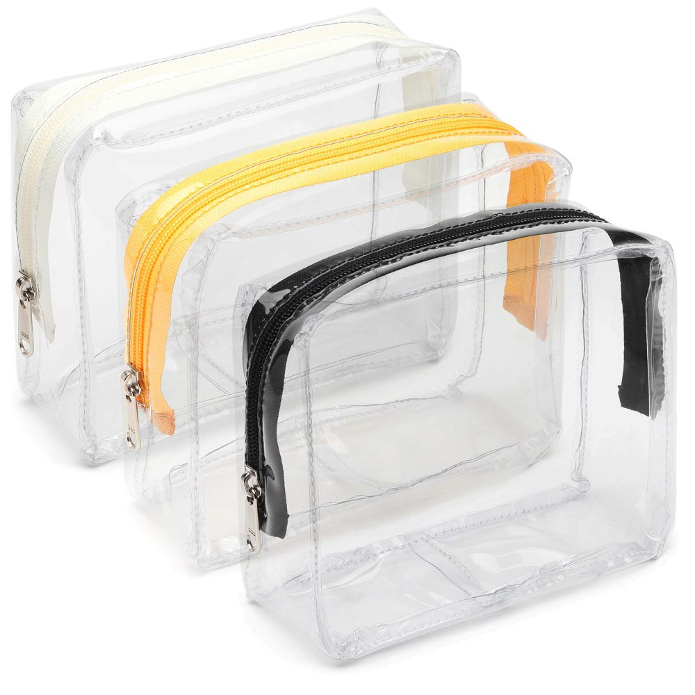 Clear Toiletry Bag, iSPECLE 3 Pack PVC Clear Cosmetic Bag TSA Approved Travel Luggage Pouch Carry On Clear Airport Compliant Bag Travel Makeup Bags Black Ivory White Yellow
