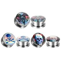 TBOSEN Set Of 6 Pcs Flower Bloom Sugar Skull Ear Plugs Flesh Tunnels Stretchers Satan Ram Demons Ear Gauges 2g - 1-3/16 inch