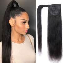 Feelgrace wrap around ponytail hair extensions human hair long straight 100% real remy hair pony tails hair extensions for women natural black 120 gram (10 Inch, Straight)