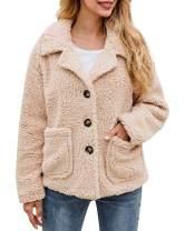 ECHOINE Jacket for Women - Lightweight Buttons Lapel Fuzzy Shearling Sherpa Fleece Coat Jacket with Pockets Warm Winter