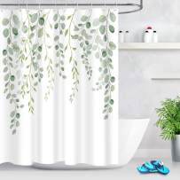 ECOTOB Green Leaves Shower Curtain for Bathroom, Spring Watercolor Plant Floral Round Eucalyptus Green Leaf Fabric Bathroom Decor Set with Shower Curtain Hooks, 60x72 Inch