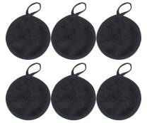 Sinland Eye Reusable Makeup Remover Cloth Toner Pads for Face Soft Facial and Skin Care Wash Cloth Puff 6 Pack Round 4.7Inch Black