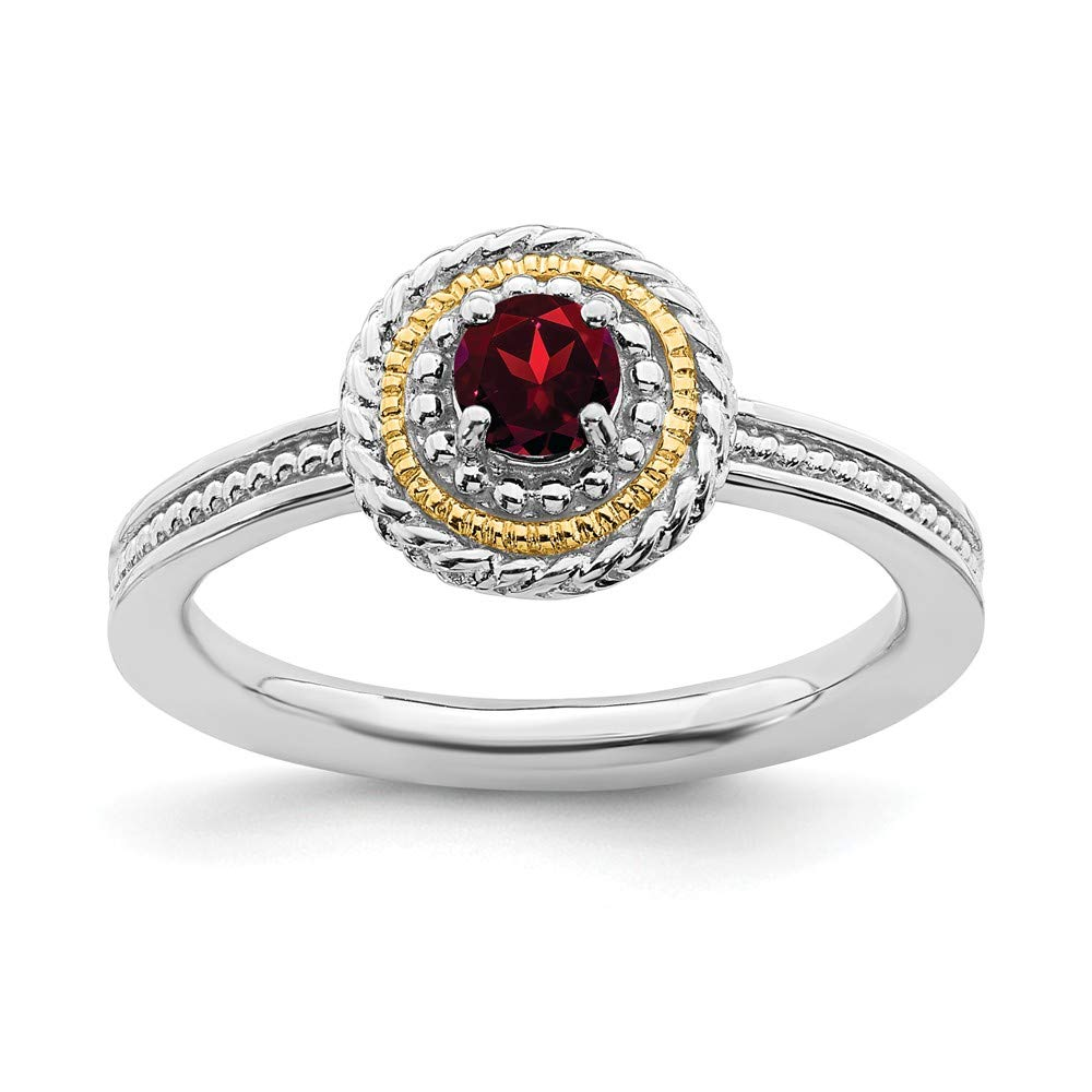 925 Sterling Silver 14k Red Garnet Band Ring Stone Stackable Gemstone Birthstone January Fine Jewelry For Women Gift Set
