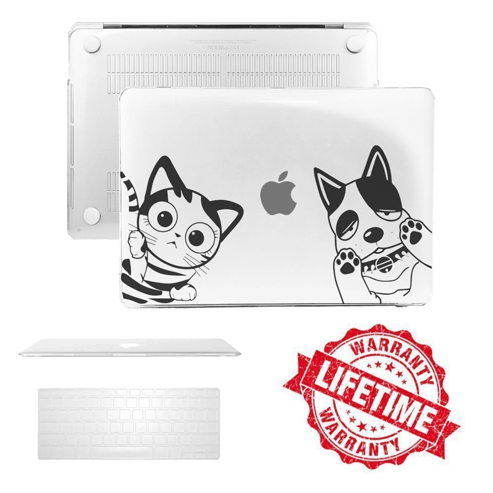 """MacBook Pro 13 Case 2017 & 2016 Release, IC ICLOVER Unique Cartoon Pattern Ultra Slim Cover & Keyboard Skin for NEWEST Macbook Pro 13"""" A1706/A1708 with/without Touch Bar & Touch ID - Crystal Clear"""