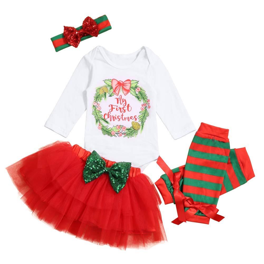 Baby Girl First Christmas Tutu Dress Outfit My 1st Christmas Romper + Leg Warmers + Headband