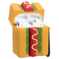 Gift-Hero Compatible with Airpods 1&2 Soft Silicone Cute Case,Cartoon 3D Fun Funny Cool Kawaii Food Designer Kits Character Skin Stylish Fashion Chic Cover for Girls Boys Kids Teens Air pods(Hotdog)