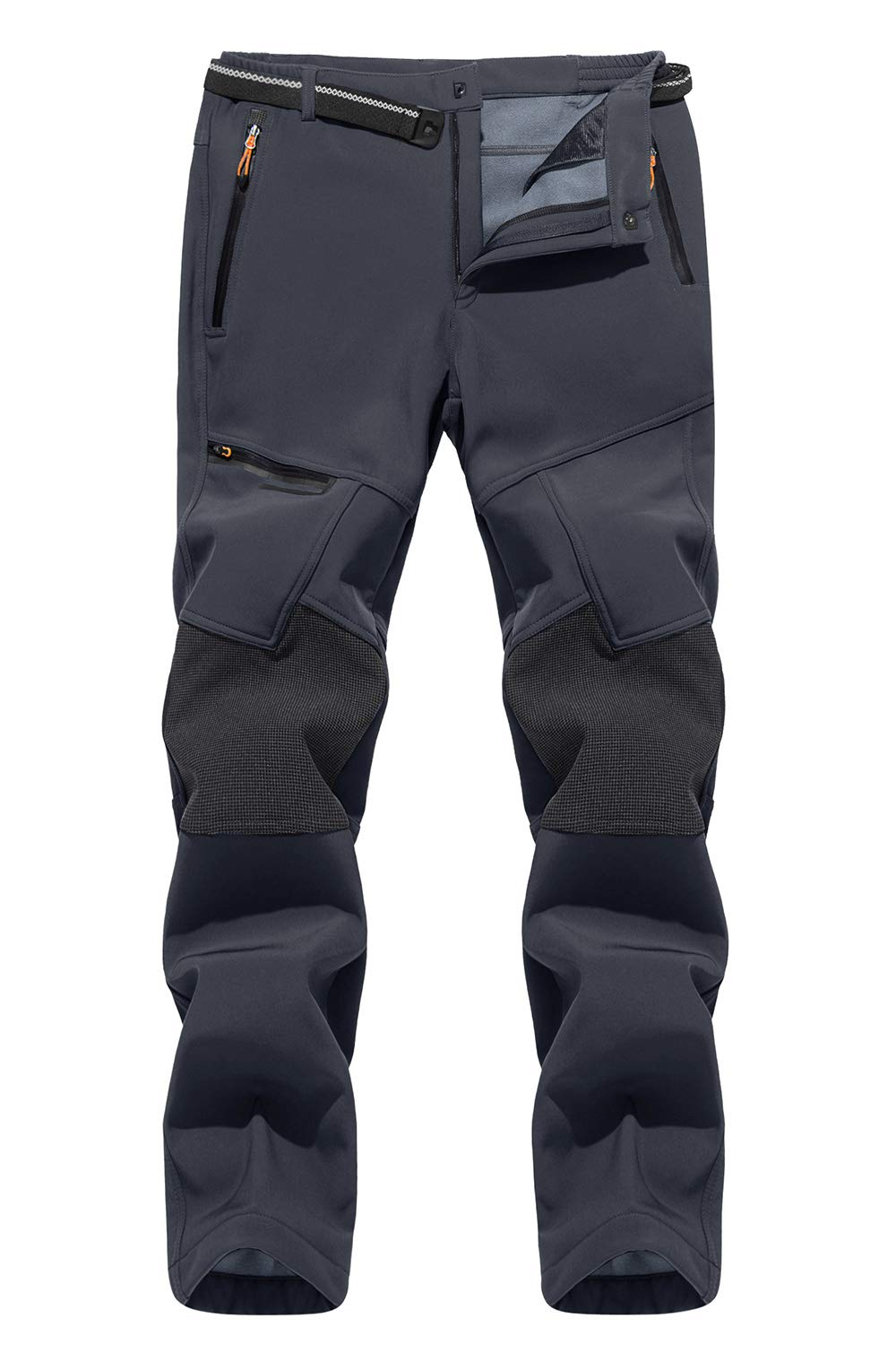 TACVASEN Men's Hiking Pants Reinforced Knees Lightweight and Thick Skiing Snowboard Fleece Lined Pants (No Belt)