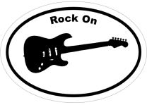 WickedGoodz Oval Rock On Guitar Vinyl Decal - Music Bumper Sticker - Perfect Music Lover Gift