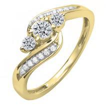 Dazzlingrock Collection 0.50 Carat (ctw) 14K Gold Diamond Ladies Swirl Engagement 3 Stone Ring 1/2 CT