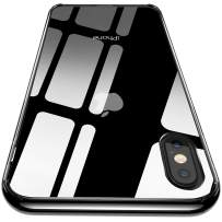 CASEKOO iPhone Xs Case, iPhone X Case, Protective Clear Cover with Transparent Hard PC Back and Soft Reinforced TPU Jel [Black Crystal Bumper] Case for iPhone Xs/X 5.8'' [Frost Series]-Black Crystal