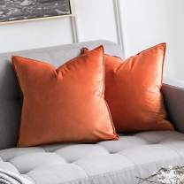 MIULEE Pack of 2 Decorative Velvet Throw Pillow Cover Soft Pillowcase Solid Square Cushion Case for Sofa Bedroom Car 16x16 Inch Fall Orange