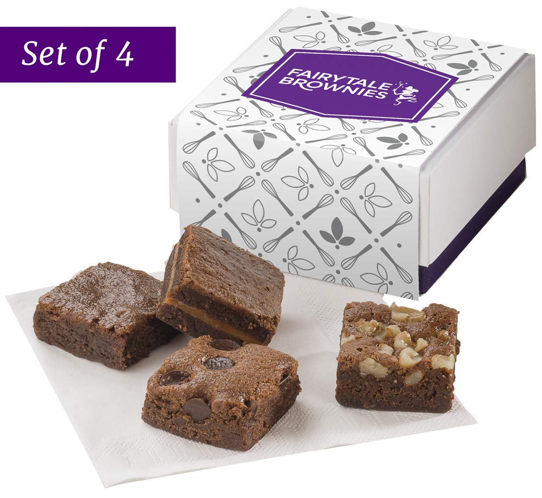 Fairytale Brownies SET OF FOUR Fairytale 4-Morsel Favor Gourmet Chocolate Food Gift Basket - 1.5 Inch x 1.5 Inch Bite-Size Brownies - 16 Pieces - Item GF454