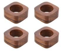 ShalinIndia Artisan Crafted Dinner Table Decorations Wooden Napkin Rings Set of 4 for Wedding Party