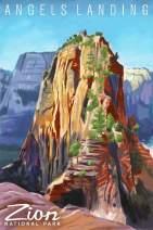Zion National Park, Utah - Angels Landing - Namedrop - Oil Painting 90140 (16x24 SIGNED Print Master Art Print - Wall Decor Poster)