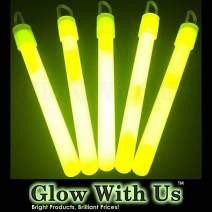 "Glow Sticks Bulk Wholesale, 50 4"" Yellow Glow Stick Light Sticks. Bright Color, Kids Love Them! Glow 8-12 Hrs, 2-Year Shelf Life, Sturdy Packaging, GlowWithUs Brand…"