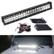 iJDMTOY Hood Mount 20-Inch LED Light Bar Kit Compatible With 2007-17 Jeep Wrangler JK, Includes (1) 120W High Power LED Lightbar, Hood Top Mounting Brackets & On/Off Switch Wiring Kit