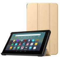 MoKo Case Fits All-New Amazon Kindle Fire 7 Tablet (9th Generation, 2019 Release), Lightweight Slim Shell Shockproof Back Stand Cover with Auto Wake/Sleep - Gold