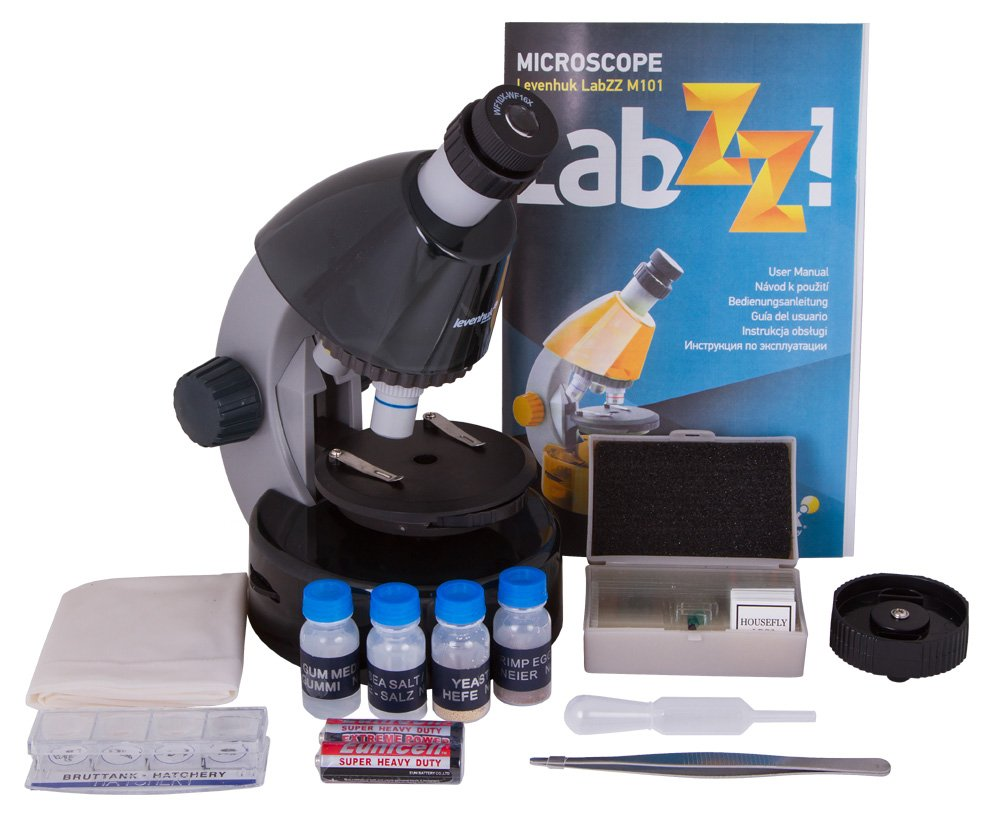 Levenhuk LabZZ M101 Moonstone Microscope for Kids with Experiment Kit – Choose Your Favorite Color
