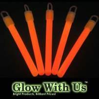 """Glow Sticks Bulk Wholesale, 50 4"""" Orange Glow Stick Light Sticks. Bright Color, Kids Love Them! Glow 8-12 Hrs, 2-Year Shelf Life, Sturdy Packaging, GlowWithUs Brand"""