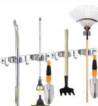 Gecious Broom Mop Holder Wall Mounted 3mm, 2x12'' Broom Organizer, Stainless Steel Heavy Duty Tool with 4 Racks 6 Hooks for Bathroom Home Kitchen Garage Garden Storage Organization Gray