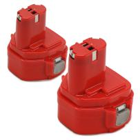 POWERAXIS 2 Packs 12V 3.0Ah Ni-MH Replacement Battery for Makita 1222 1233 1234 1235 1235B 1235F PA12 192696-2 192698-8 192698-A 193138-9/193157-5 Cordless Power Tool(Red)