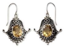 NOVICA Citrine .925 Sterling Silver Dangle Earrings, Jaipuri Glam'