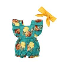 Calsunbaby Newborn Baby Girl One Piece Pineapple Print Bodysuit Ruffled Romper Jumpsuit Clothes