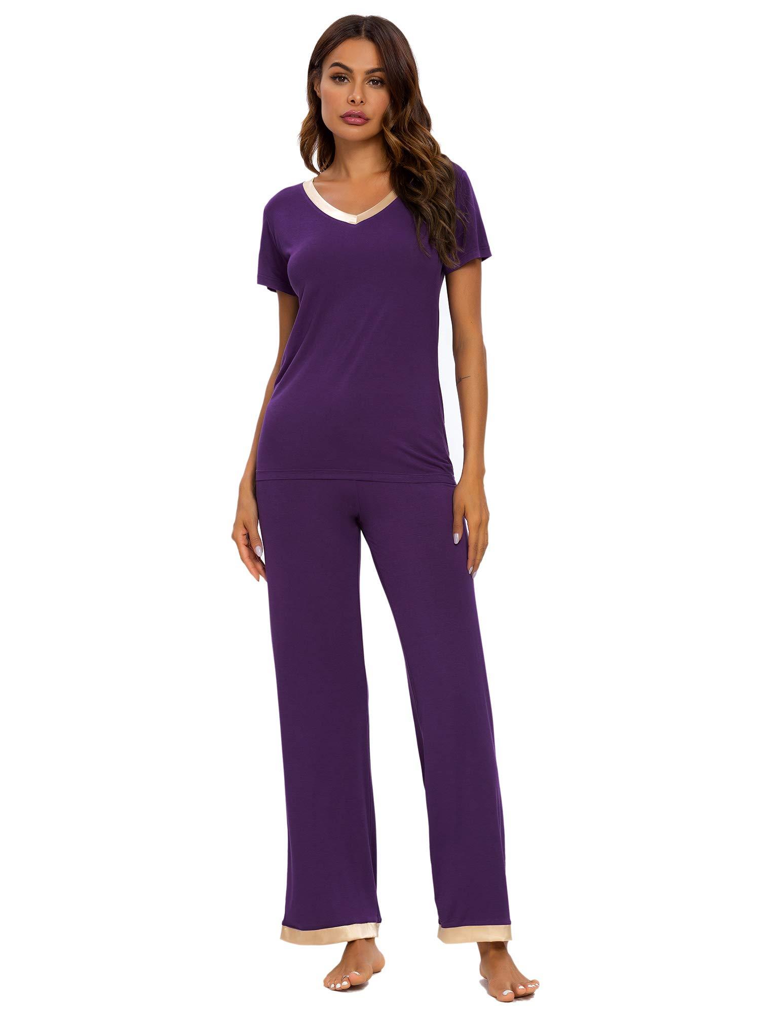 TIKTIK Womens Modal Pajama Set Comfy Sleepwear Short Sleeve Top with Pants Pjs Petite Plus Size S-4XL