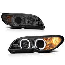 VIPMOTOZ For 2003-2006 BMW E46 Coupe 325CI 330CI Smoke Lens LED Halo Headlights Headlamps, Driver and Passenger Side