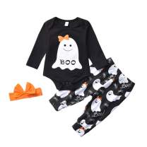 Baby Girl My First Halloween Outfit 3PCS Boo Bodysuit Romper and Ghost Pants with Pumpkin Headband Winter Clothes Set