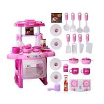 UPMALL Kids Kitchen Playset,Kitchen Cooking Set Toddler Gift Toy / Lights Sound (Pink)