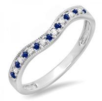 14K Gold Blue Sapphire & White Diamond Ladies Anniversary Wedding Band Guard Ring