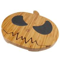 Bamboo Cheese boards in Pumpkin Shape, 16 x 15 Inch Natural Serving Platter for Spreads, Crackers, Brie, Dried Fruits, Meat and Wine With 4 Stainless Steel Cheese Tools By HTB