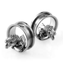 SUPTOP 2pcs Dinosaur Skull Ear Gauges Unique Screw Plugs and Tunnels for Ears Streched Size 2G - 1 inch