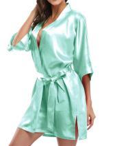 Giova Pure Color Satin Short Silky Bathrobe Sleepwear Nightgown Pajama