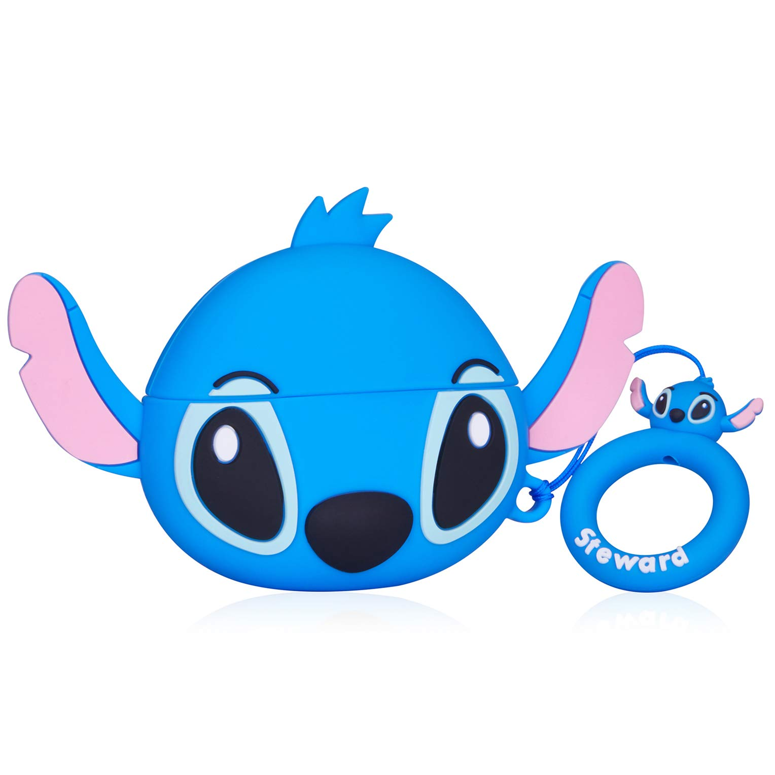 Gift-Hero Q Blue Stitch Case for Airpods Pro/for Airpods 3, Cartoon Funny Cute Design for Girls Boys Kids, Unique Carabiner Protective Fun Fashion Character Skin Soft Silicone Cover for Air pods 3