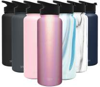 Simple Modern 40 Ounce Summit Water Bottle - Stainless Steel Tumbler Metal Flask +2 Lids - Wide Mouth Double Wall Vacuum Insulated Leakproof Shimmer: Rose Quartz