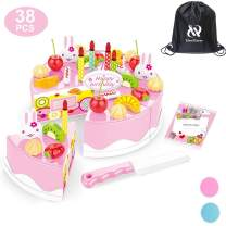 HenMerry 38 PCS DIY Cutting Birthday Party Cake Toy Pretend Play Kitchen Food Toys Set,DIY Fruit Cutting Kitchen Toys Pink/Blue Cut Cake Toys for Girls Boys Gift (38PCS Pink)