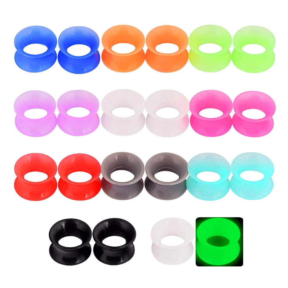 Longbeauty 30pcs/22pcs Colorful Silicone Gauges Plugs Double Flared Flexible Tunnels Ear Skin Stretcher Kit Piercing 3mm-25mm