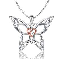 Sterling Silver Butterfly Necklace - Celtic Jewelry Gifts for Women Butterfly Lovers