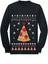 Pizza Ugly Christmas Sweater Xmas Pizza Tree Youth Kids Long Sleeve T-Shirt