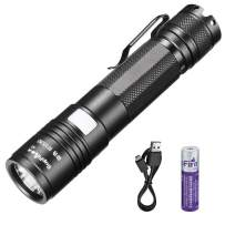 Supfire Rechargeable Flashlight,Pocket-sized Clip Flashlight 300 Lumens with 18650 Battery and Mirco USB,Mini Led Torch,Super Bright Flashlight Perfect for Running,Pet Walking-5 Modes