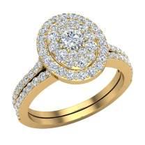 0.94 ct tw Cluster Diamond Wedding Ring Bridal Set 18K Gold (G, SI)