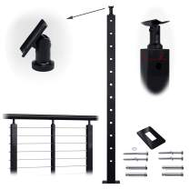 """Muzata Cable Railing Post Intermediate 42""""x1""""x2"""" Stainless Steel Black Finishing Pre-drilled Posts Surface Mount for Wood Concrete Level Deck Stair Balustrade fit Invisible kit PL02 BH4, PT1 PT3"""