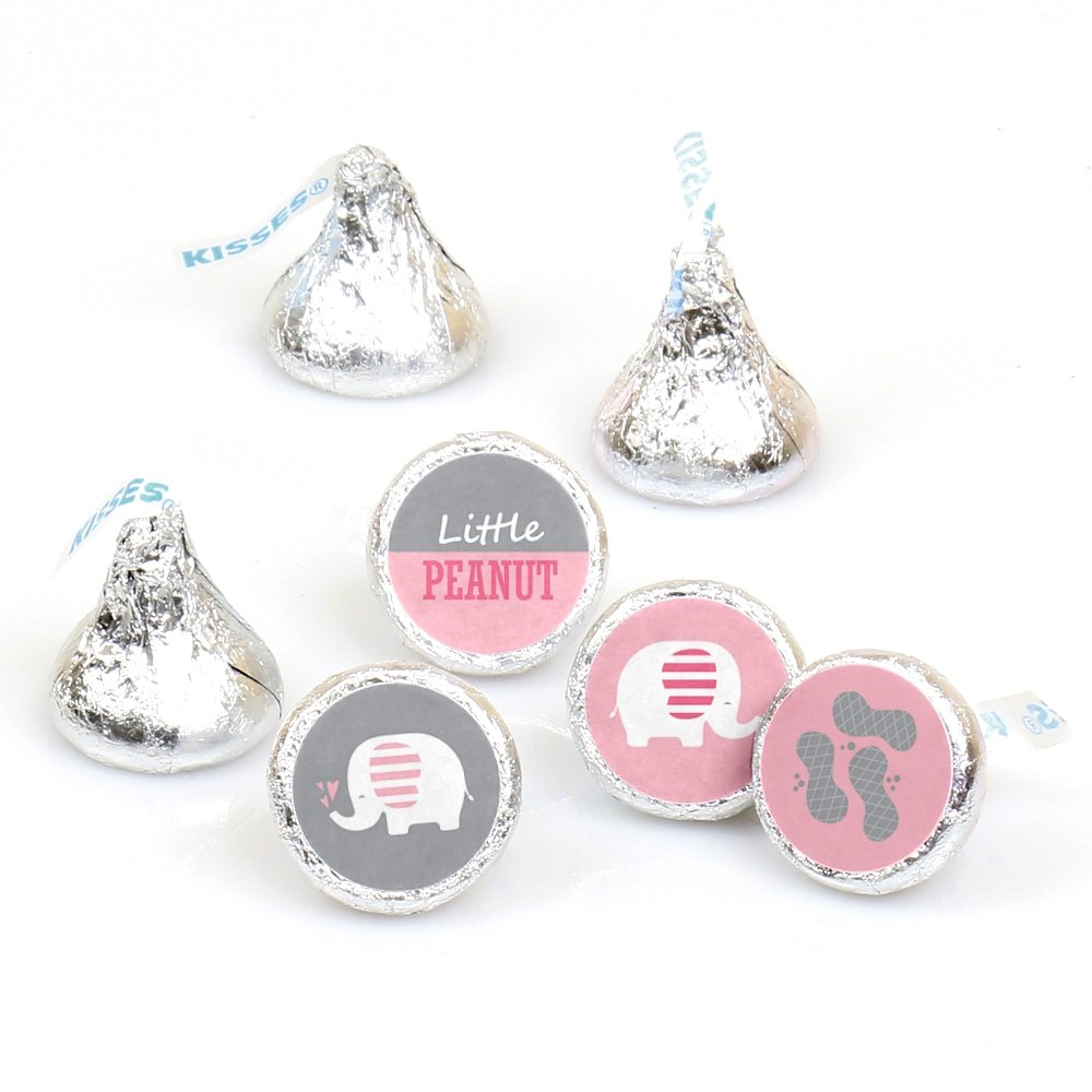 Pink Elephant - Girl Baby Shower or Birthday Party Round Candy Sticker Favors - Labels Fit Hershey's Kisses (1 Sheet of 108)