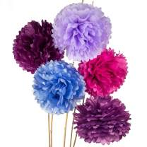 Luna Bazaar Tissue Paper Pom Poms (15-Inch, Multicolor Purples, Set of 5) - Hanging Paper Flower Ball Decorations for Weddings, Bridal and Baby Showers, Nurseries, Parties