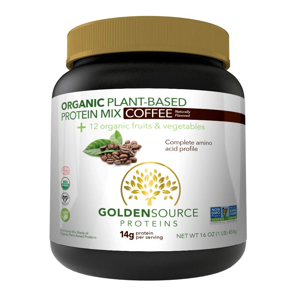 GoldenSource Proteins Organic Plant-Based Protein, Coffee, 1 Pound
