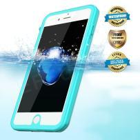 EFFUN iPhone 7 Waterproof Case, IP68 Certified Waterproof Dustproof Snowproof Shockproof Case with Cell Phone Holder, PH Test Paper, Stylus Pen and Floating Strap Black/White/Pink/Aqua Blue