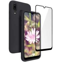 Vinve Samsung Galaxy A20 Case, Galaxy A30 Case, with Tempered Glass Screen Protector [2 Pack], Liquid Silicone Slim Fit Drop Protection Case for Galaxy A20 (Black)